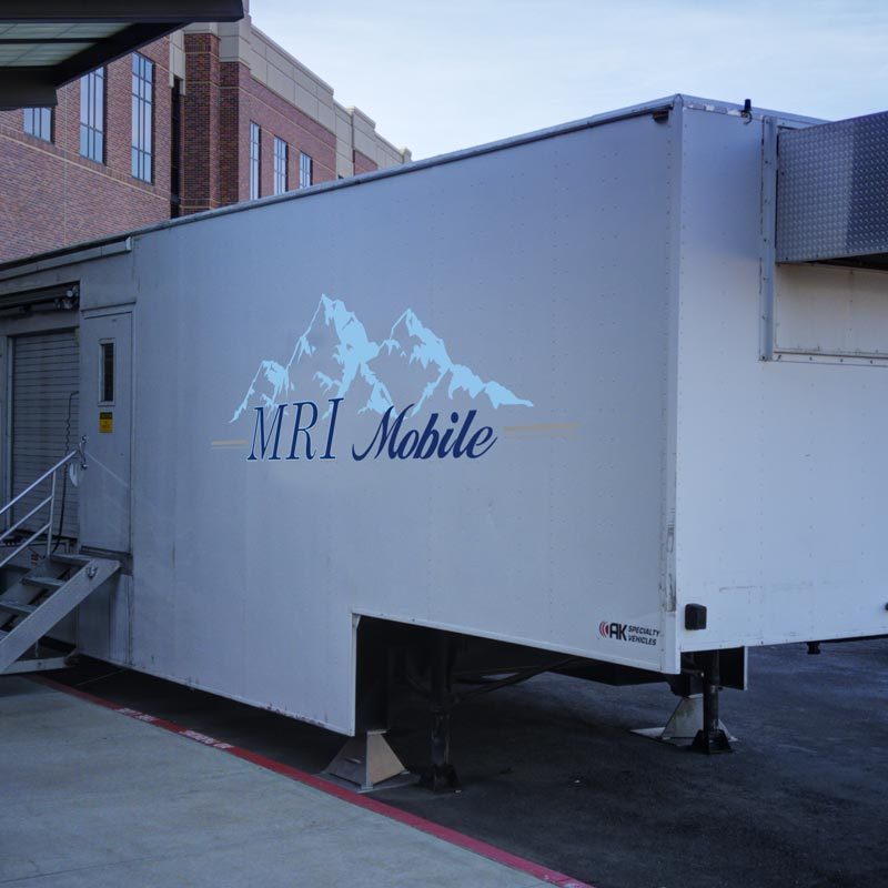Cose shot of Mobile MRI van