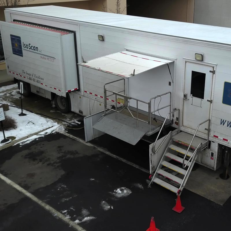 Aerial view of mobile mri trailer